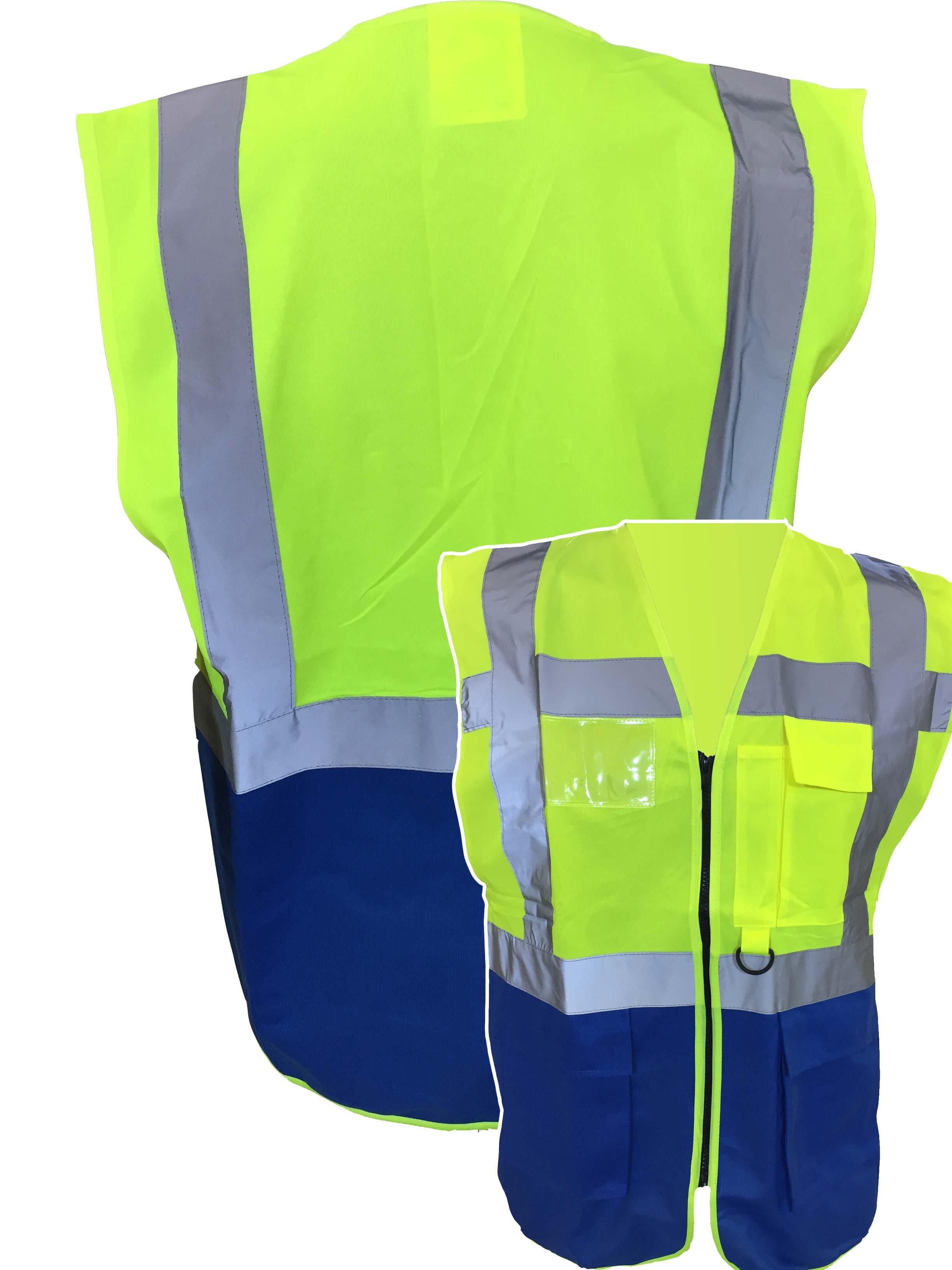GIMP MASK FUNNY YELLOW HI VIZ VIS WAISTCOAT VEST SAFETY WORKWEAR STAG PARTY